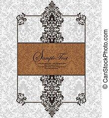 vendimia, invitación, tarjeta, con, florido, elegante, retro, resumen, diseño floral