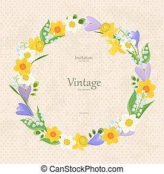 vendimia, invitación, tarjeta, con, guirnalda, de, multa, flores del resorte, para, y