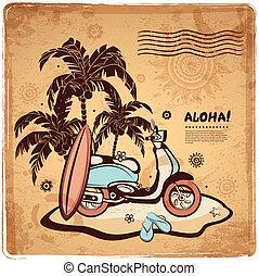 vendimia, isla, ilustración, océano