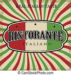 vendimia, italiano, cartel, restaurante