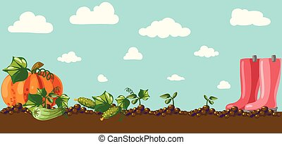 vendimia, jardín, bandera, con, raíz, veggies