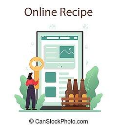 vendimia, jarra, vidrio, platform., o, cerveza, en línea, botella, servicio