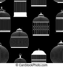 vendimia, jaulas de pájaros, siluetas, seamless, patrón, vector, illustrati
