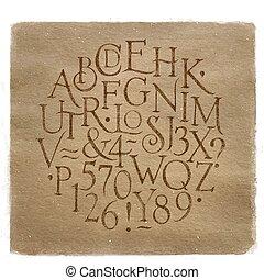 vendimia, kraft, alfabeto