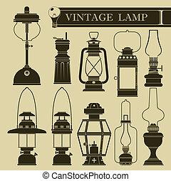 vendimia, lámpara