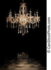vendimia, lámpara, fondo negro, vidrio