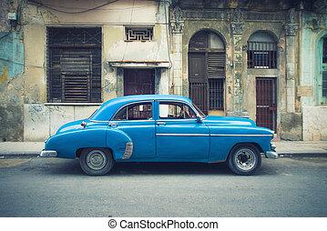 vendimia, la habana, calle, coche estacionado