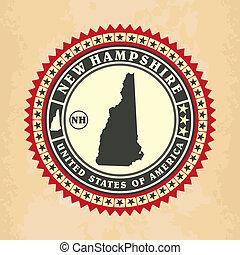 vendimia, label-sticker, tarjetas, de, new hampshire