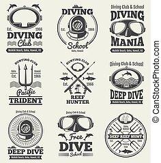 vendimia, labels., spearfishing, vector, retro, sello, buceo, escafandra autónoma