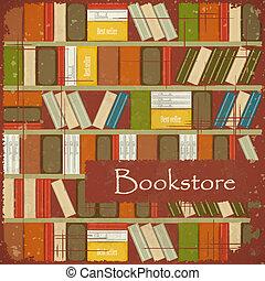vendimia, librería, plano de fondo
