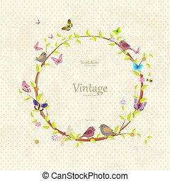 vendimia, lindo, guirnalda floral, con, bastante, aves, para, su, diseño