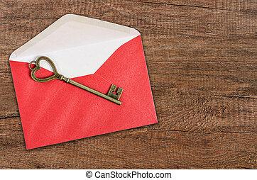 vendimia, llave, en, rojo, envelope.