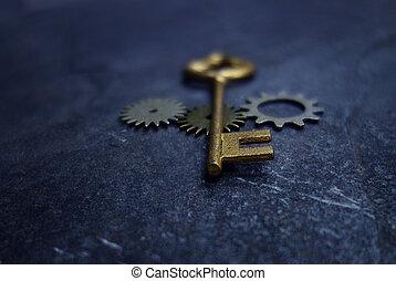 vendimia, llave, y, engranajes