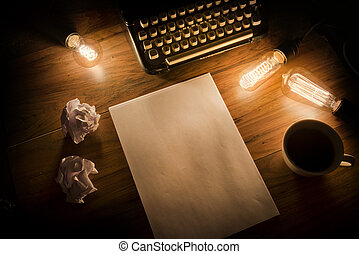 vendimia, máquina de escribir, escritorio