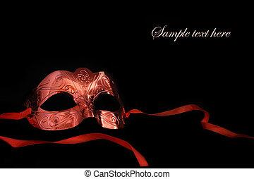 vendimia, máscara del carnaval, en, fondo negro