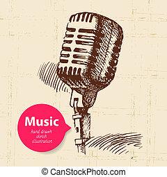 vendimia, música, fondo., mano, dibujado, bosquejo,...
