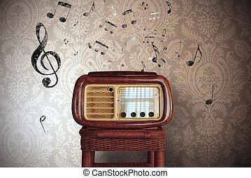 vendimia, música nota, con, viejo, radio