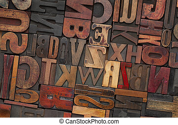 vendimia, madera, texto impreso, tipo