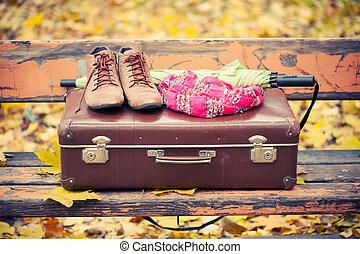 vendimia, maleta, bufanda, botas, y, paraguas, en, banco