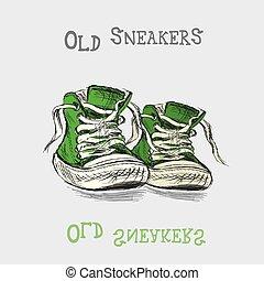 vendimia, mano, zapatillas, dibujado