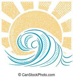 vendimia, mar, ondas, y, sun., vector, ilustración, de, mar, paisaje