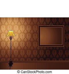 vendimia, marco, ahorcadura, pared, con, antigüedad, lamp.