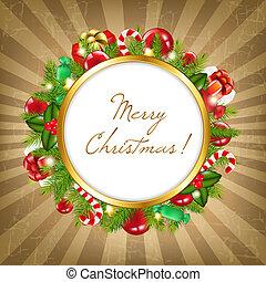 vendimia, marco, alegre, plano de fondo, navidad