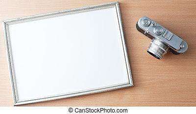vendimia, marco, cámara, foto