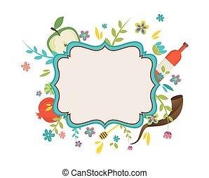 vendimia, marco, circundante, con, flores, y, rosh hashana,...