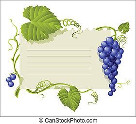 vendimia, marco, con, grupo, uvas, y, hoja verde