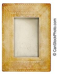vendimia, marco de la foto, contra, blanco