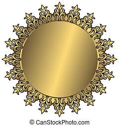vendimia, marco, redondo, dorado