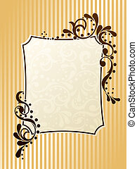 vendimia, marco, sepia, rectangular