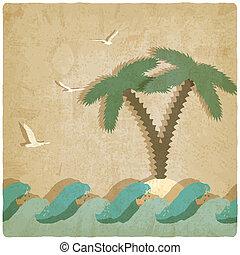 vendimia, marina, plano de fondo, con, palmera