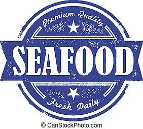 vendimia, mariscos, fresco, etiqueta
