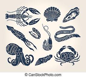 vendimia, mariscos, ilustración