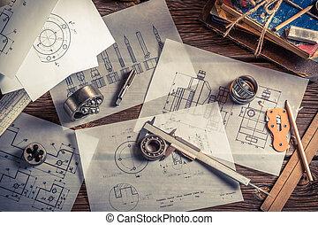 vendimia, mecánico, ingeniero, escritorio