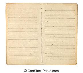 vendimia, memorándum, libro, abierto, a, blanco, páginas