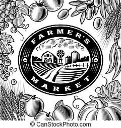 vendimia, mercado de productos de granja, etiqueta