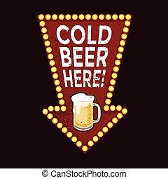 vendimia, metal, aquí, señal, cerveza, frío