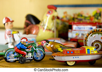 vendimia, metal, juguetes