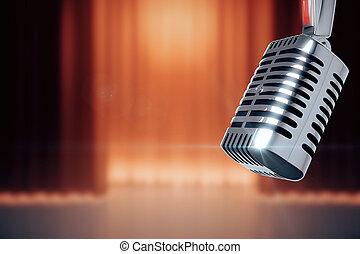 vendimia, micrófono, en, etapa, con, el, escenas, plano de fondo