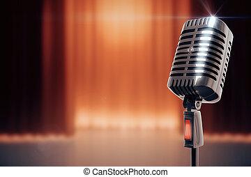 vendimia, micrófono, en, etapa, plano de fondo