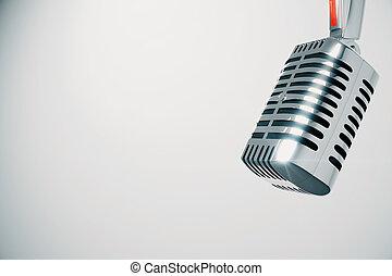 vendimia, micrófono, en, fondo blanco