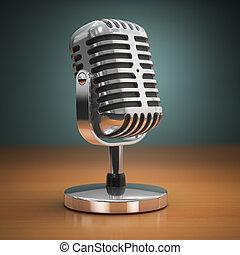 vendimia, micrófono, en, verde, fondo., retro, style.