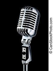 vendimia, micrófono, encima, negro