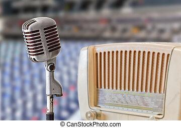 vendimia, micrófono, radio