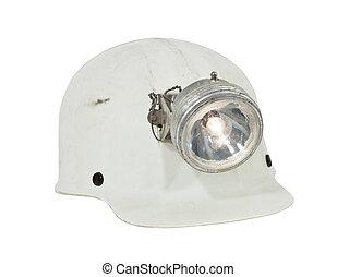 vendimia, minería, y, caving, sombrero duro, aislado