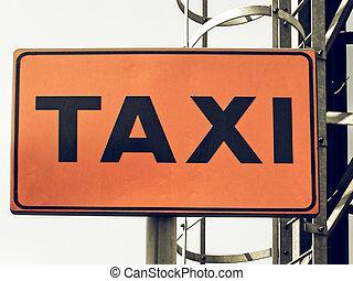 vendimia, mirar, signo taxi