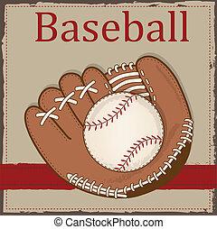 vendimia, mitón, beisball, o, guante